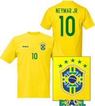 Brasilien stil fotbollströja med neymar jr 10 tryck