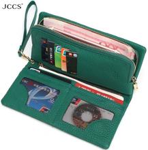 JCCS Design Wallet Fashion Women's Day Clutch Genuine Leather Handbags Coin Purse Clutch Wrist Bags iphone Case JS3205
