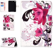 iPad Mini Læder Cover m. Kortholder og Standerfunktion - Livagtig Blomst