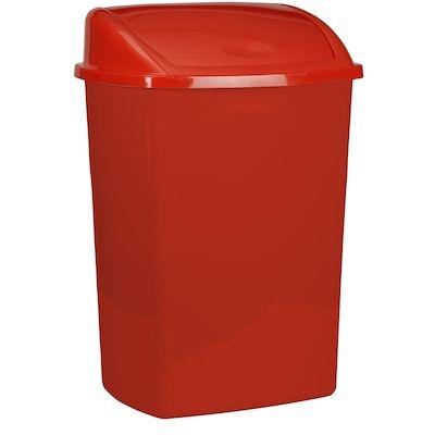 Affaldsspand, 30x40x75cm, 50 l, rød, plast, sving låg