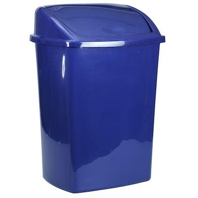 Affaldsspand, 30x40x75cm, 50 l, blå, plast, sving låg