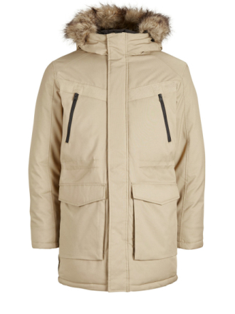 JACK & JONES Hooded Parka Coat Men Brown