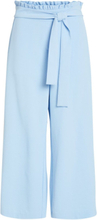 VILA Wide Cropped Trousers Women Blue