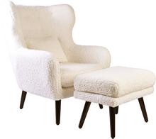 Harry lænestol med skammel - Plys hvid uld/lammeskind