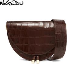 NIGEDU Women Crossbody Bag Fashion Crocodile Semicircle Saddle Bags PU Leather Shoulder Bags for female Handbags designer bolsas