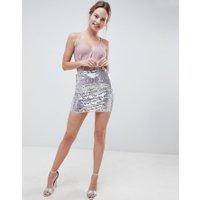ASOS DESIGN Minikjol med paljetter - Skimrande silver