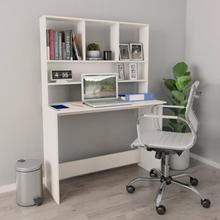vidaXL Skrivebord med hyller hvit 110x45x157 cm sponplate