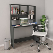 vidaXL Skrivebord med hyller grå 110x45x157 cm sponplate