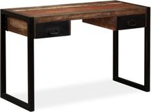 vidaXL Skrivebord med 2 skuffer gjenvunnet heltre 120x50x76 cm