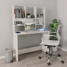 vidaXL Skrivbord med hyllor vit högglans 110x45x157 cm spånskiva