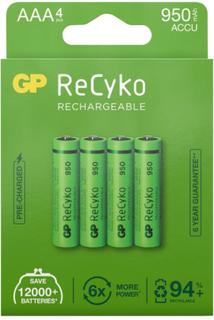 GP Batterier GP ReCyko AAA-batteries 950mAh 4-pack batterier Grønn OneSize