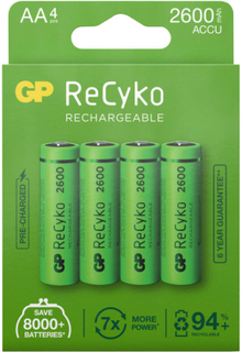 GP Batterier GP ReCyko AA-batteries 2600mAh 4-pack batterier Grønn OneSize