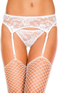Lace garterbelt and g-string - white