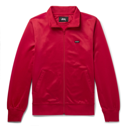 Striped Satin-jersey Track Jacket - Red