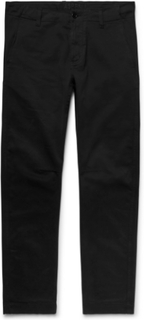Garment-dyed Stretch-cotton Twill Trousers - Black