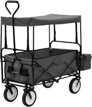 vidaXL Hopfällbar handvagn med tak stål grå