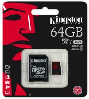 Kingston minneskort microSDXC 64GB UHS-I Class 3 SDCA3/64GB - Kingston