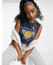 Tommy Jeans – Marinblått basketlinne utan ärm