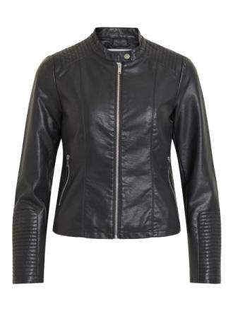 VILA Short Faux Leather Jacket Women Black