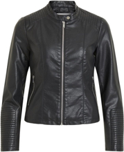 VILA Short Faux Leather Jacket Women Black