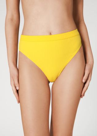 Bikinihose Diana mit hoher Taille aus Feinrippgewebe