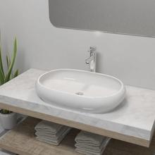 vidaXL Handfat med blandare keramik oval vit