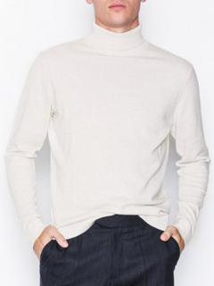 Selected Homme Slhtower Cot/Silk Roll Neck B Gensere Hvit