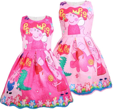 Peppa Pig Girl Summer Short Sleeve Dress Princess Party Vest Dress For Girl's Birthday Cosplay Costume Kids Toddler Clothes