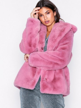 NLY Trend Short Luxury Fur Coat Rosa