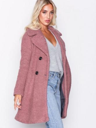 Only onlPALOMA Boucle Long Wool Coat Otw Vaaleanpunainen