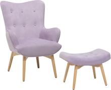 Nojatuoli ja rahi samettinen vaaleanpunainen VEJLE