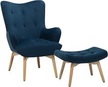 Nojatuoli ja rahi samettinen sininen VEJLE