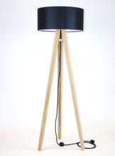 WANDA Eschenholz Stehlampe 45x140cm - Schwarz Lampenschirm / Schwarz