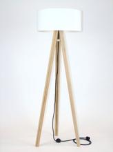 WANDA Eschenholz Stehlampe 45x140cm - Weiß Lampenschirm / Schwarz