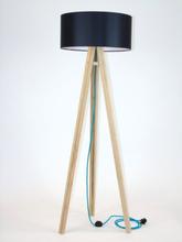 WANDA Eschenholz Stehlampe 45x140cm - Schwarz Lampenschirm / Turkis