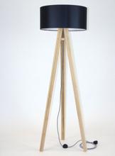 WANDA Eschenholz Stehlampe 45x140cm - Schwarz Lampenschirm / Zick-zack