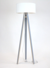 WANDA Stehlampe 45x140cm - Grau / Weiß Lampenschirm