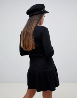 Gennemknappet minikjole med pepsøm fra ASOS DESIGN Petite-Sort