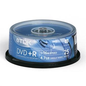 TDK DVD+R 16x Cakebox 25-pack