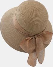 Frauen Stroh gewebt einfarbig Bowknot Dekoration im Freien lässig Sonnenschirm Stroh Hüte