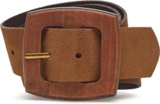 Wood Buckle Leather Belt