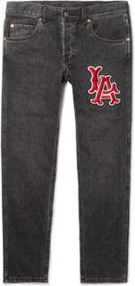 + Los Angeles Angels Tapered Appliquéd Washed Stretch-denim Jeans - Black