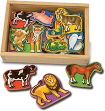 Magneter i trälåda - Djur