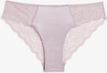 Satin and lace briefs - Purple