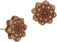 eydl Wood Jewelry - Mandala -Sett med øredobber - brun
