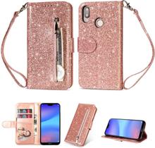 Huawei P20 Lite beskyttelses deksel av syntetisk skinn med glitter pulver - rose gull