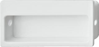 Rektangulær hvid skålegreb i kunststof