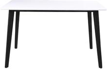 Bjørk - Hvidt spisebord 120 cm m. sorte ben - mindre fejl (OU310)