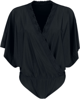 Black Premium by EMP - Schwarzer Body in Wickeloptik und mit Kimono-Ärmeln - Body - svart