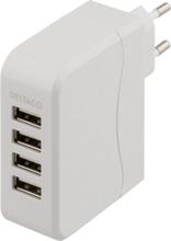 DELTACO USB-laddningsstation, 4 USB-portar, 5,4A